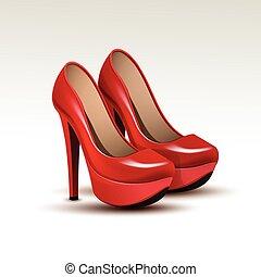 vetorial, mulher, sapatos, moda alta, calcanhares