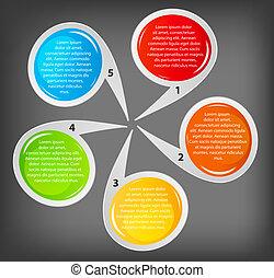 vetorial, negócio, bandeiras, diferente, coloridos, circular, ilustração, conceito, design.