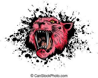 vetorial, olhos, fundo branco, tiger, ilustração, mascote, gráfico