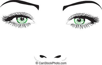 vetorial, olhos, rosto, mulher, ilustração