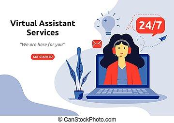 vetorial, online, assistente, design., virtual, serviços, apartamento, ilustração, conceito, modernos