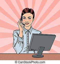 vetorial, operador, consultar, hotline., estouro, cliente, ilustração, arte, mulher