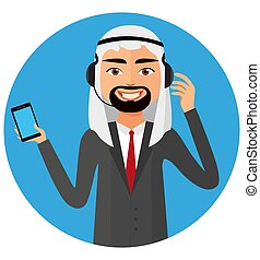vetorial, operador, serviço, helpdesk, service., cliente, caricatura, saudita, homem, centro, árabe, chamada, ilustração, conceito, apartamento, headset