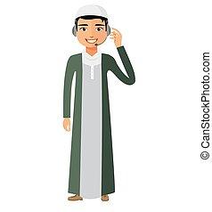 vetorial, operador, serviço, helpdesk, service., cliente, yemen, caricatura, homem, centro, árabe, chamada, ilustração, conceito, apartamento, headset