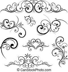 vetorial, ornamento, scroll