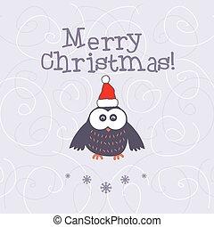 vetorial, owl., natal, ilustração