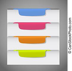 vetorial, página, borda, adesivos, ilustração