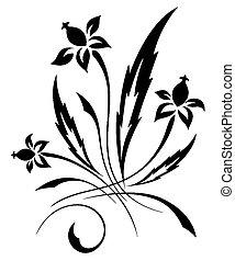 vetorial, padrão, flor branca, pretas