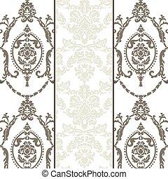 vetorial, padrão, jogo, ornamento, damasco