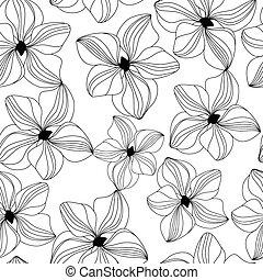 vetorial, padrão, orquídea rosa, seamless