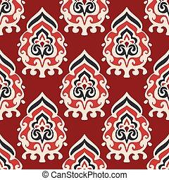 vetorial, padrão, seamless, damasco, tecido