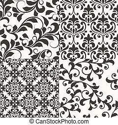 vetorial, padrões florais, 4, seamless, retro