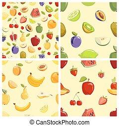 vetorial, padrões, jogo, seamless, frutas