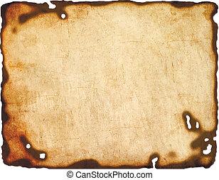 vetorial, papel, queimado, isolado, bordas, antigas, branca, eps8, experiência.