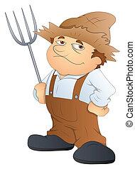 vetorial, personagem, caricatura, agricultor