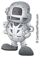 vetorial, personagem, robô, caricatura