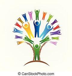 vetorial, pessoas, logotipo, árvore, trabalho equipe