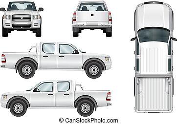vetorial, pickup, fundo branco, caminhão