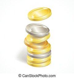 vetorial, pilha, moeda