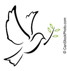 vetorial, pomba, paz