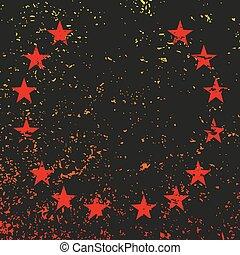 vetorial, pretas, estrelas, fundo, vermelho, grunge., ilustração