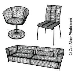 vetorial, projeto fixo, ilustração, mobília