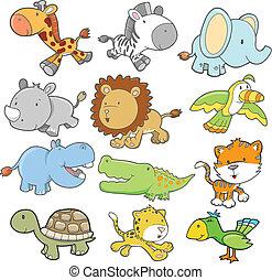 vetorial, projeto fixo, safari, animal