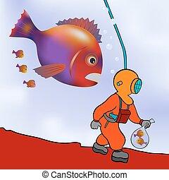 vetorial, -, prowl, mergulhador