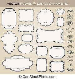 vetorial, quadro, jogo, ornamento, ornate