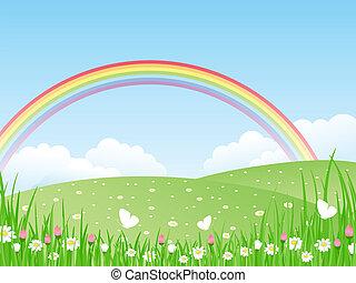 vetorial, rainbow., il, paisagem