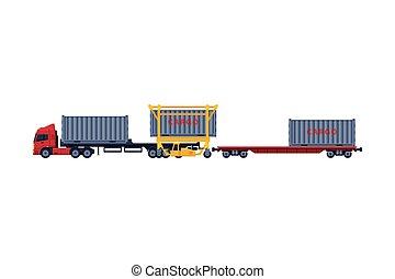 vetorial, recipiente, branca, caminhão, reboque, carregando, entrega, carga, ilustração, fundo