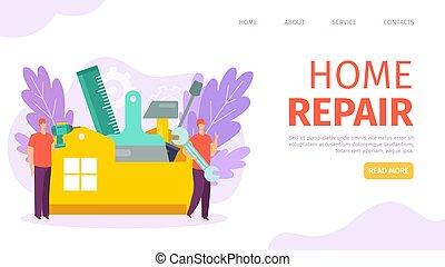 vetorial, reparar, serviço, equipe, apartamento, profissional, teia, trabalhador, aterragem, banner., casa lar, página, apartamento, reparar, predios, illustration.