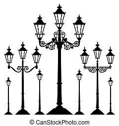 vetorial, retro, luz rua