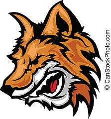 vetorial, rosnando, gráfico, raposa, mascote