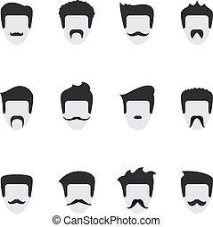 vetorial, rosto, jogo, bigode, ícones