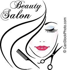 vetorial, rosto, logotipo, mulher, bonito, salão beleza