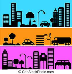 vetorial, rua cidade, ilustração