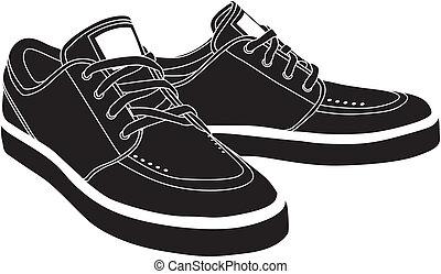 vetorial, sapatos, desporto