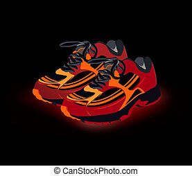 vetorial, sapatos, sneakers., desporto