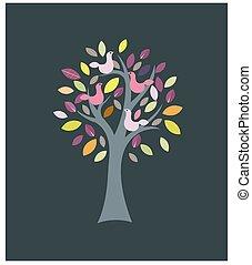 vetorial, sazonal, coloridos, pássaros, árvore