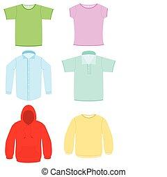 vetorial, set., ilustração, roupa