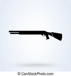 vetorial, shotgun., simples, desenho, illustration., modernos, ícone, bomba