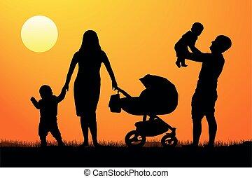 vetorial, silueta, família, feliz