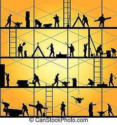 vetorial, silueta, trabalho, trabalhador, ilustração, construção