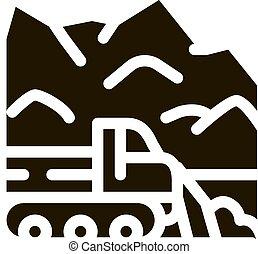 vetorial, soprador, ilustração, caminhão, ícone, neve, glyph