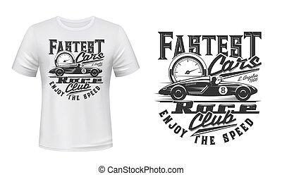 vetorial, t-shirt, impressão, car, mockup, correndo, retro