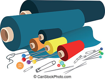 vetorial, tecido, cosendo, acessórios