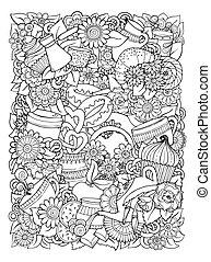 vetorial, template., doodle, hand-drawn, café, desenho, chá, illustration.