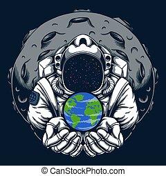 vetorial, terra, cofre, ilustração, astronauta