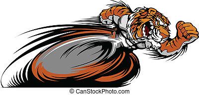 vetorial, tiger, mascote, gráfico, correndo
